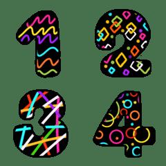 Emoji Number neon black funny