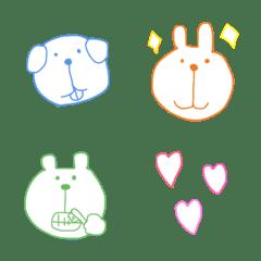 カラフルでシンプルな動物達の絵文字
