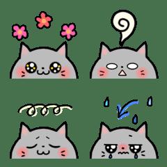 灰色ネコちゃんの絵文字♪