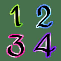 Number classic neon light emoji