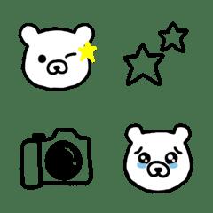 シンプル シロクマ モノクロ カラー 絵文字