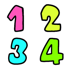 Number black colorful neon emoji 3