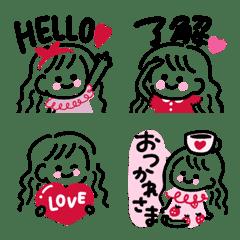 文字入り♡線画のシンプルgirl