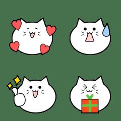 白ネコちゃんの絵文字♪シンプル☆
