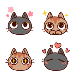 黒猫とキジトラ猫の絵文字