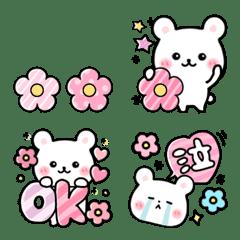 春の白くま❤️かわいいお花のミニスタンプ
