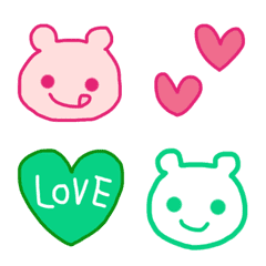 ピンク&グリーンのキレイ色くまさん♪
