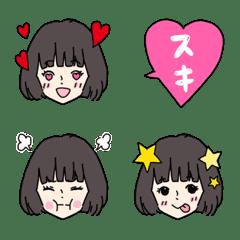 かわいい女の子の表情絵文字3*オカッパ