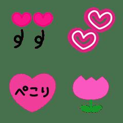 【動く!】ハートの絵文字+花。ピンク色。