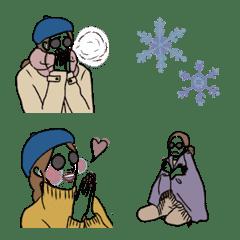 大人シンプル冬に使えるくすみ線画絵文字